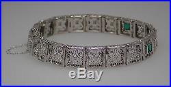 Art Deco Filigree 14k White Gold. 08ctw Diamond & Emerald Bracelet 6 7/8