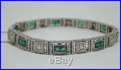 Art Deco Filigree Platinum on 14k White Gold. 36ctw Diamond Emerald Bracelet 7