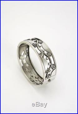 Art Deco Georg Jensen silver vine bangle bracelet design 66 Harald Nielsen 80s