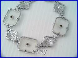Art Deco Jhp John H Peckham Rhodium Filigree Camphor Glass Diamond Bracelet