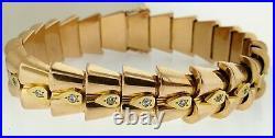Art Deco Magnificent French 18k Rose Gold+diamonds Snake Bracelet1930'sestate