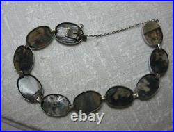 Art Deco Moss Agate Bracelet Sterling Silver Germany c1920 Rare Victorian