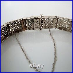 Art Deco Platinum 14kt YG Diamond Sapphire Filigree Bracelet GAL Appraisal