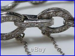 Art Deco Platinum 2.64ct Diamond Womens Estate Antique Oval Link Bracelet 7.5