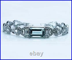 Art Deco Platinum 4.5ct Aquamarine Diamond Baguette Bracelet Estate 6.5