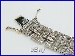 Art Deco Platinum 900 5.80ct Diamond Tennis Statement Antique Heavy Bracelet