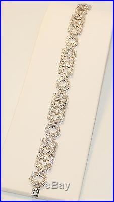 Art Deco Platinum & Diamond Bracelet Genuine Antique Over 4.0ct of Diamonds