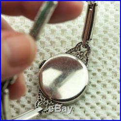 Art Deco Platinum Diamond Emerald Ladies' Bracelet Watch (A0741)