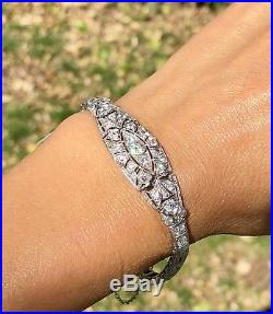 Art Deco Platinum Diamond Filigree Articulated Vintage Bracelet 6.25