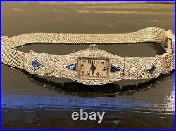 Art Deco Platinum Diamond & Sapphire Ladies Watch 57mm