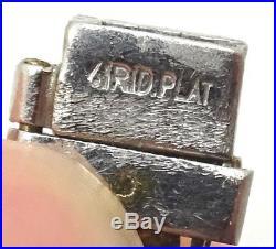 Art Deco Platinum Genuine Natural Diamond Bracelet with Emeralds (#C3489)