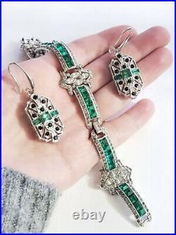 Art Deco Princess Cut Emerald Green Paste Stone Bracelet