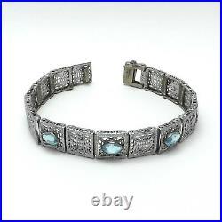 Art Deco Rhodium Plated Filigree Marquise Blue Zircon Glass Bracelet 7