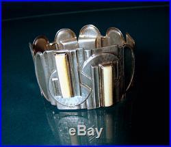 Art Deco Silber Armband, Cubism Silver Bone Bracelet, Unikat 1920-1930