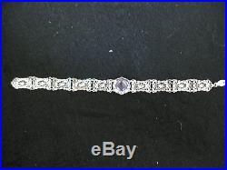 Art Deco Sterling Silver Filigree Lavender Blue Stone Bracelet, Sz. 7.5