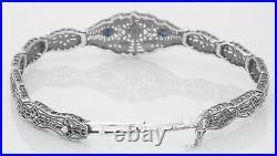 Art Deco Style Blue Sapphire Diamond Filigree Bracelet in Fine Sterling Silver
