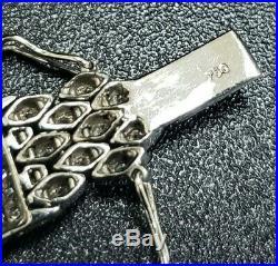 Art Deco Style Wide Diamond Bracelet 18K White Gold 6 Carats Total