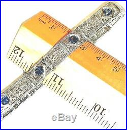Art Deco Superlative 14K/Platinum Sapphire Filigree Bracelet, 14.5 Grams