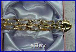 Art Deco Vintage Jewelry Gold Bracelet with Heart Padlock Antique Jewellery 22cm