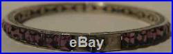 Art Deco Vintage Sterling Channel Set Purple Rhinestone Hinged Bangle Bracelet