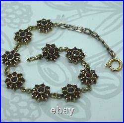 Art Deco Vintage Sterling Silver Euro Cut Bohemian Garnet Cluster Bracelet 7.75