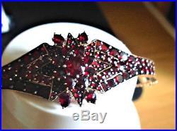 Art deco Bohemian Rose cut garnet flat 1910-1920 bracelet bangl sterling silver