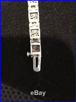 Authentic Art Deco Filigree Saphire And Diamond Bracelet