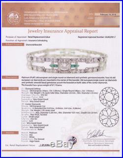 Authentic Vintage Art Deco Circa 1930s Platinum & Diamond Bracelet 7.71ctw