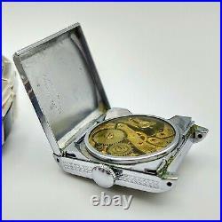 BULOVA Round-the-World Wristwatch 15J Cal. 10AN Art Deco White Gold Filled Watch