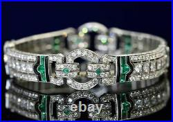Beautiful 1940 Circa Art Deco Style With Clear CZ, Green Emerald & Onyx Bracelet