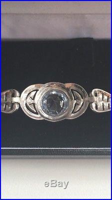Beautiful Antique Original Art Deco Aquamarine Silver Bracelet