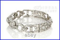Beautiful Vintage Art Deco Platinum & Diamond Bracelet 10.19ctw