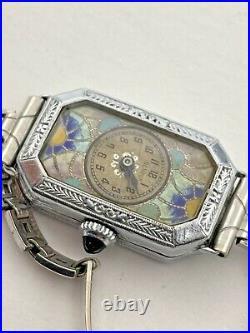 Benrus 1920's Ladies Cloisonné Enamel Art Deco Watch Estate Find Vintage 21-1716