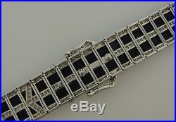 Black Onyx Diamond Platinum BRACELET 1930s Art Deco