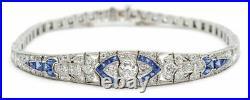 Bracelet Art Deco Diamond And Sapphire Studded 5.05 CT 14K White Gold Over gift