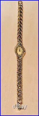 Bulova Ladies 14k Gold Diamond Bezel Gilt Dial Bracelet Watch 95U02 Vintage EUC