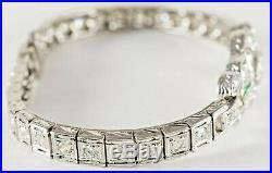 C1920 ART DECO 2Ct. PLATINUM DIAMOND BRACELET w EMERALDS