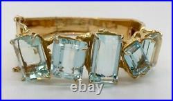 Cartier 1930s Art Deco 18K Yellow Gold & 65 CTW Aquamarine Bracelet Antique