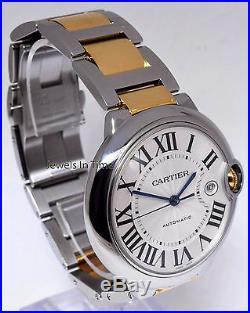 Cartier Ballon Bleu 42mm 18k Yellow Gold & Steel Mens Automatic Watch 3001