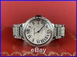 Cartier Ballon Bleu Men's Watch 42mm Iced Out 12ct Diamonds Steel Ref 3001