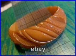 Carved Butterscotch Bakelite Bangle Bracelet Art Deco Leaves Amber Catalin