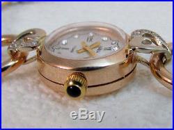 Chaika (Gull) Russian ART DECO 14k Solid Gold & Zirconium Women's Watch EXC
