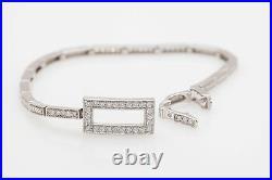 Contemporary $6000 RETRO ART DECO 2ct SI1 G Diamond 14k White Gold Bracelet