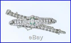 DECO Diamond BraceletArt Deco Diamond Bracelet Emerald Accents, Circa 1925