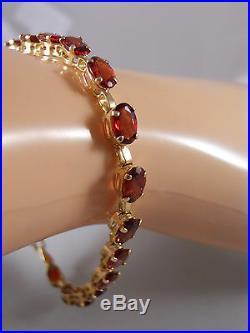 Designer CID 10k Yellow Gold Rhodolite Garnet Art Deco Chain Tennis Bracelet