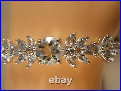 Designer Sterling Silver 925 Aquamarine Flower Art Deco Bangle Tennis Bracelet