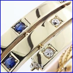Diamond and Sapphire Art Deco Style Bangle Bracelet 14K Gold Bracelet 27 grams