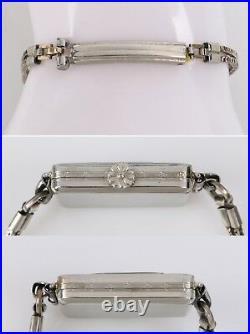 ELGIN c. 1925 Parisienne Lady & Tiger Art Deco Enamel Manual Bracelet Watch