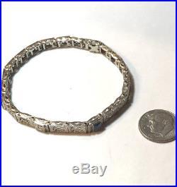 Elegant 1920's 14K White Gold Filigree Bracelet Sapphires & Diamond ART DECO