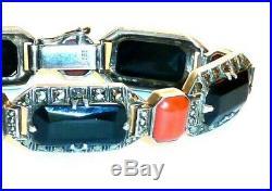 Elegant Refined Art Deco Theodor Fahrner Coral Onyx Marcasite Sterling Bracelet